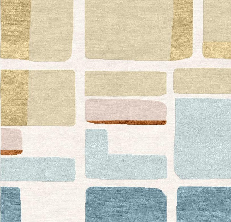 Tapis Rouge is thrilled to present the Jeanneret rug, completed in hand knotted silk and wool. Inspired by the work of renowned architect and Pioneer of the modern architecture movement, Le Corbusier. A major influencer in urban planning, Le