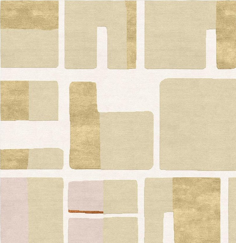 Bauhaus Jeanneret Coupe de Rose Hand-Knotted Wool and Silk 2.5 x 3.0m Rug For Sale