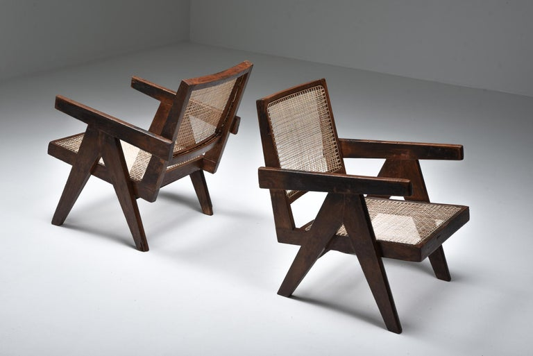 Pierre Jeanneret, armchairs, low easy chairs, for Administrative buildings form Chandigarh, India, 1960s.