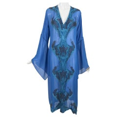 Jeannie McQueeny Beaded Blue SIlk Chiffon Caftan Dress