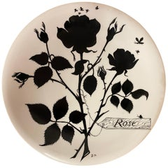 Jeannine Hétreau, Plate Decorated with Stylized Rose, for Primavera, circa 1950