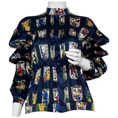 JEANS CHARLES de CASTELBAJAC Pop Art Post Cards Silk Shirt Blouse
