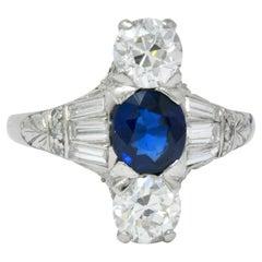 J.E.Caldwell Art Deco 2.75 Carat No Heat Sapphire Diamond Platinum Ring GIA