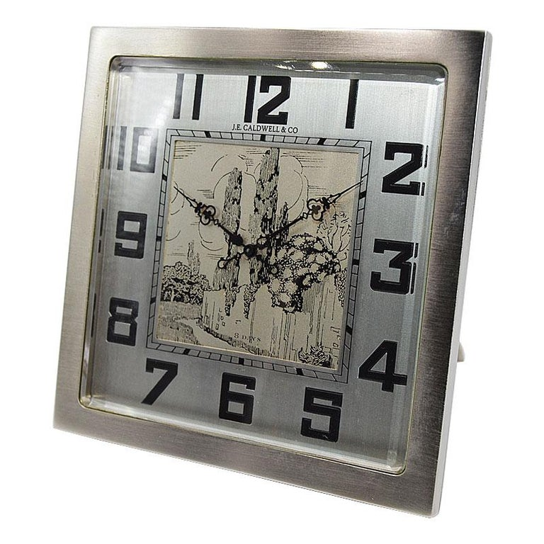 J.E.Caldwell & Co. Art Deco Desk Clock circa 1930s with Engraved Dial In Excellent Condition For Sale In Venice, CA