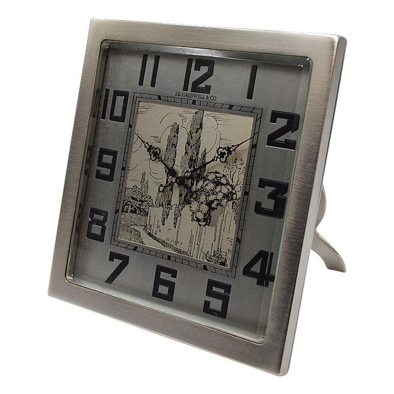 Women's or Men's J.E.Caldwell & Co. Art Deco Desk Clock circa 1930s with Engraved Dial For Sale