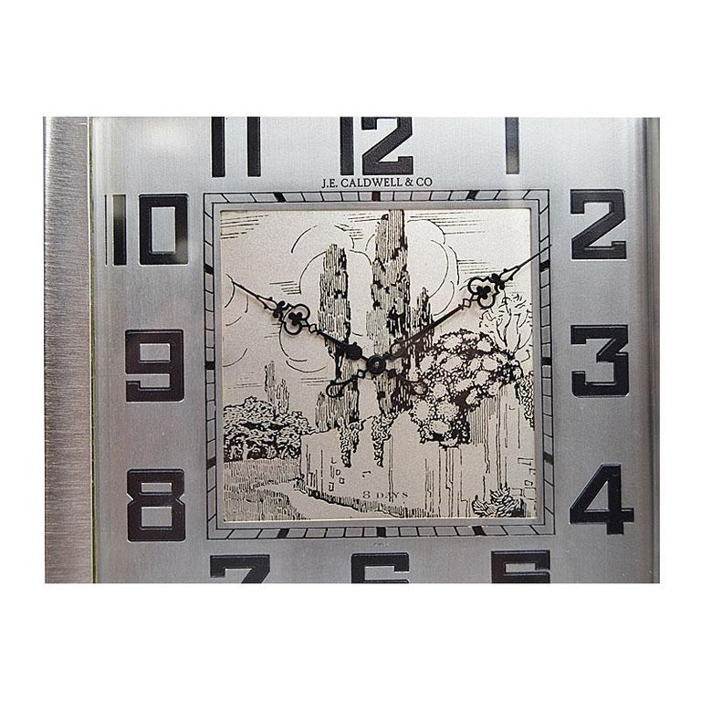 J.E.Caldwell & Co. Art Deco Desk Clock circa 1930s with Engraved Dial For Sale 1