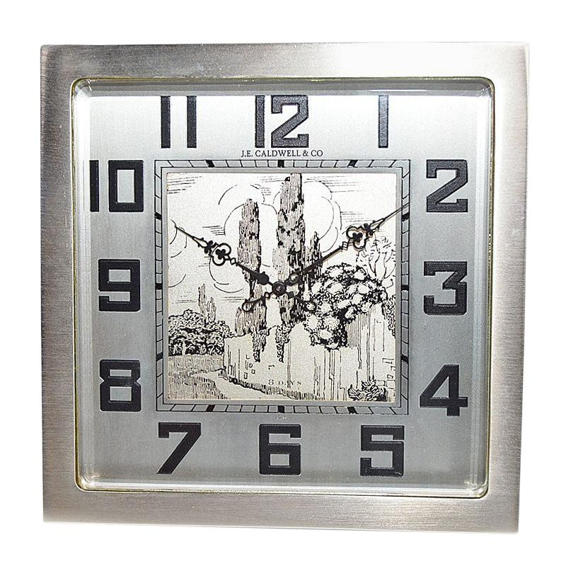 J.E.Caldwell & Co. Art Deco Desk Clock circa 1930s with Engraved Dial