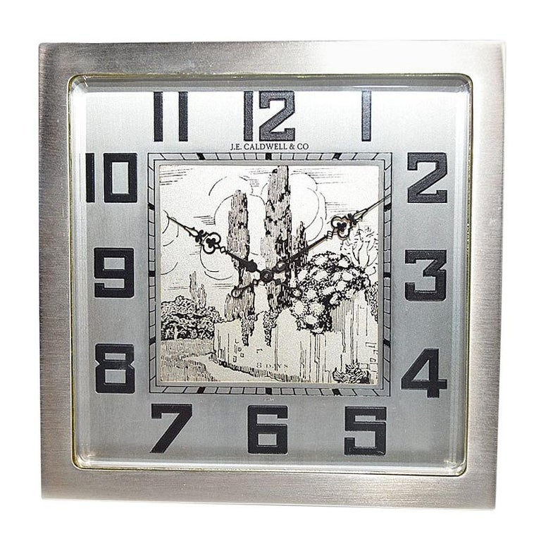 J.E.Caldwell & Co. Art Deco Desk Clock circa 1930s with Engraved Dial For Sale