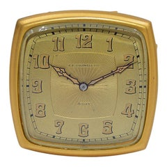 J.E.Caldwell & Co. Art Deco Gilt Brass 8 Day Manual Winding Desk Clock 1920s