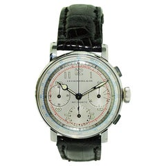 J.E.Caldwell Stainless Steel Oversized Chronograph Manual Wind Watch, 1940s