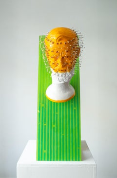 """""""Deepfake National Monument"""", Orange, Green, and White Free-Standing Sculpture"""