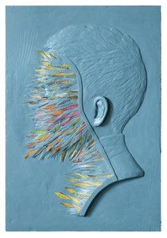 """History Is Beneath Us"" Blue, Figurative Sculpture, Profile, Portrait"