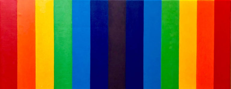 Jeet Aulakh Abstract Painting - NAMO EK YOGE, Abstract Geometric Rainbow Composition Painting
