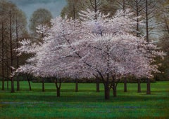 Crabapple - Spring Blooming Crabapple Tree in Green Grassy Clearing, Oil Paint