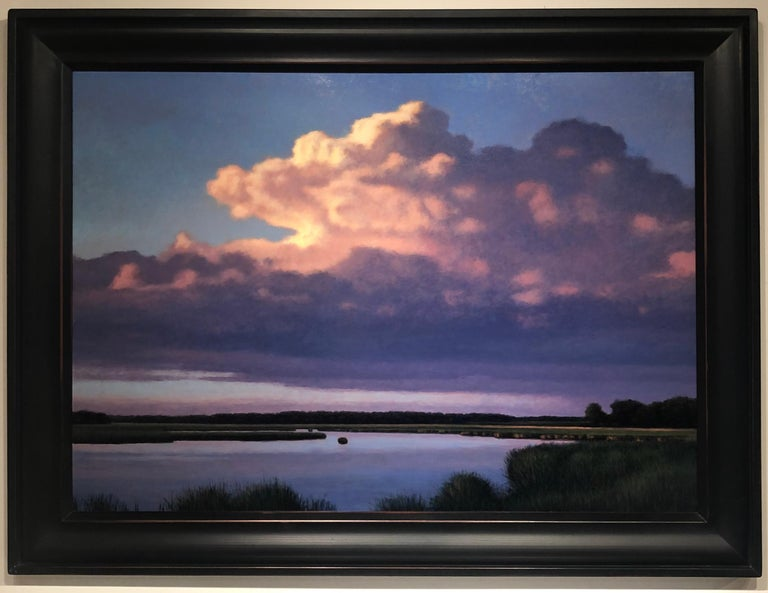 Evening Cumulus and Pond, Serene Landscape Sun Kissed Clouds, Meandering Water - Contemporary Painting by Jeff Aeling