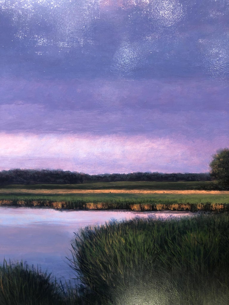 Evening Cumulus and Pond, Serene Landscape Sun Kissed Clouds, Meandering Water For Sale 2