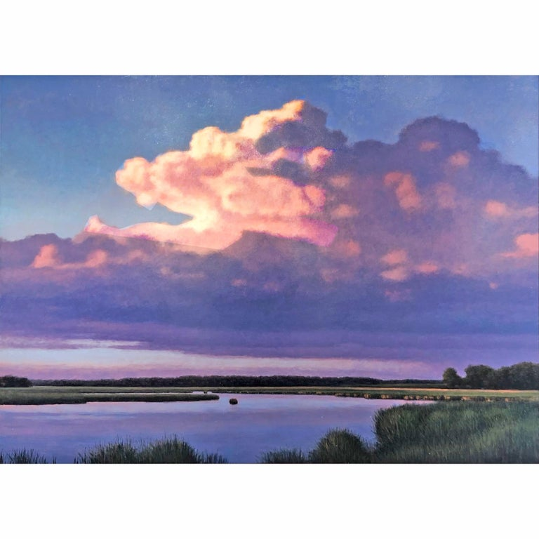 Evening Cumulus and Pond, Serene Landscape Sun Kissed Clouds, Meandering Water - Painting by Jeff Aeling
