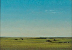 Late Afternoon Near Salina, Kansas, Serene Landscape with Lush Greens & Blues