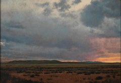 Sunset South of Galisteo, NM - Small Scale Landscape Painting, Oil on Panel