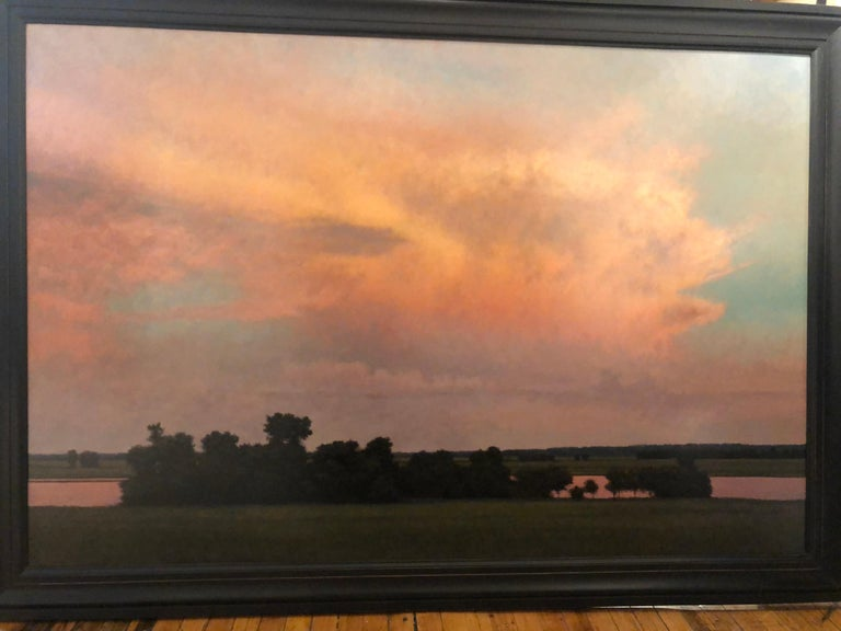 Thunderstorm Near Alton IL - Oil Painting on Panel of Midwest Landscape For Sale 1