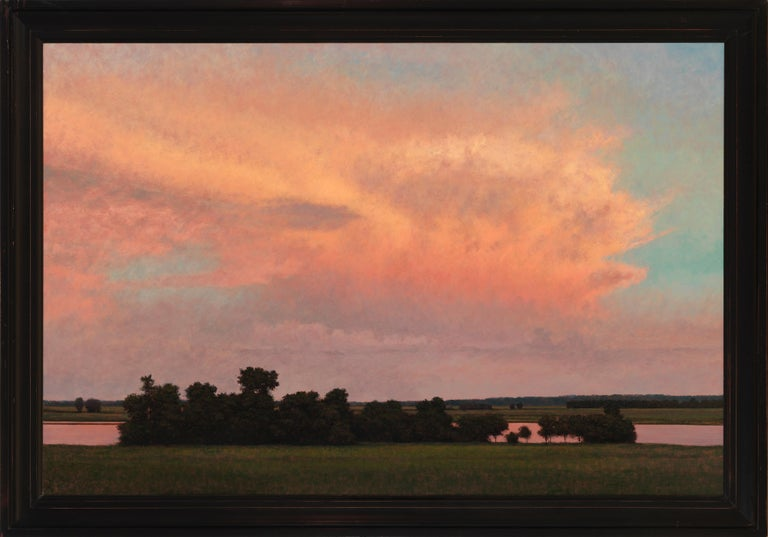 Thunderstorm Near Alton IL - Oil Painting on Panel of Midwest Landscape - Brown Landscape Painting by Jeff Aeling