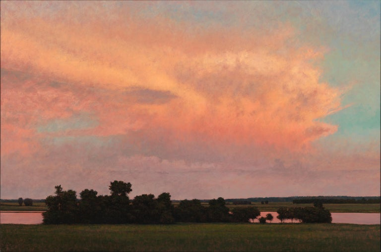 Jeff Aeling Landscape Painting - Thunderstorm Near Alton IL - Oil Painting on Panel of Midwest Landscape