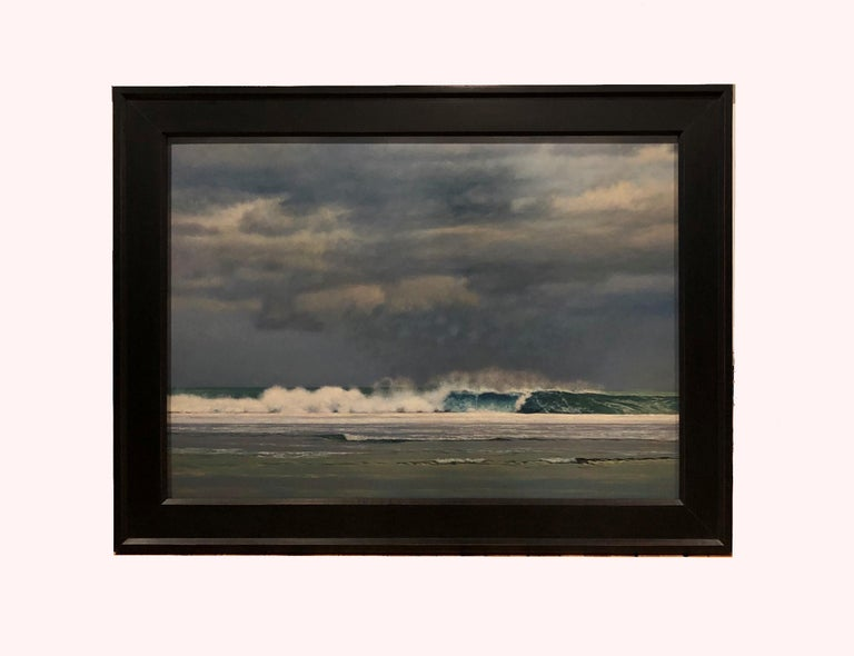 Wave Breaking on the Reef - Oil Painting, Green, Grey and Blue Ocean with Storm 2