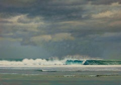 Wave Breaking on the Reef - Oil Painting, Green, Grey and Blue Ocean with Storm