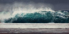 Wave, Kauai - Oil on Panel Painting in Blue Turquoise, White Sea Foam and Gray