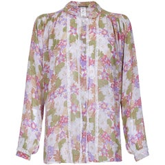 Jeff Banks 1970s Floral Chiffon and Lace Blouse