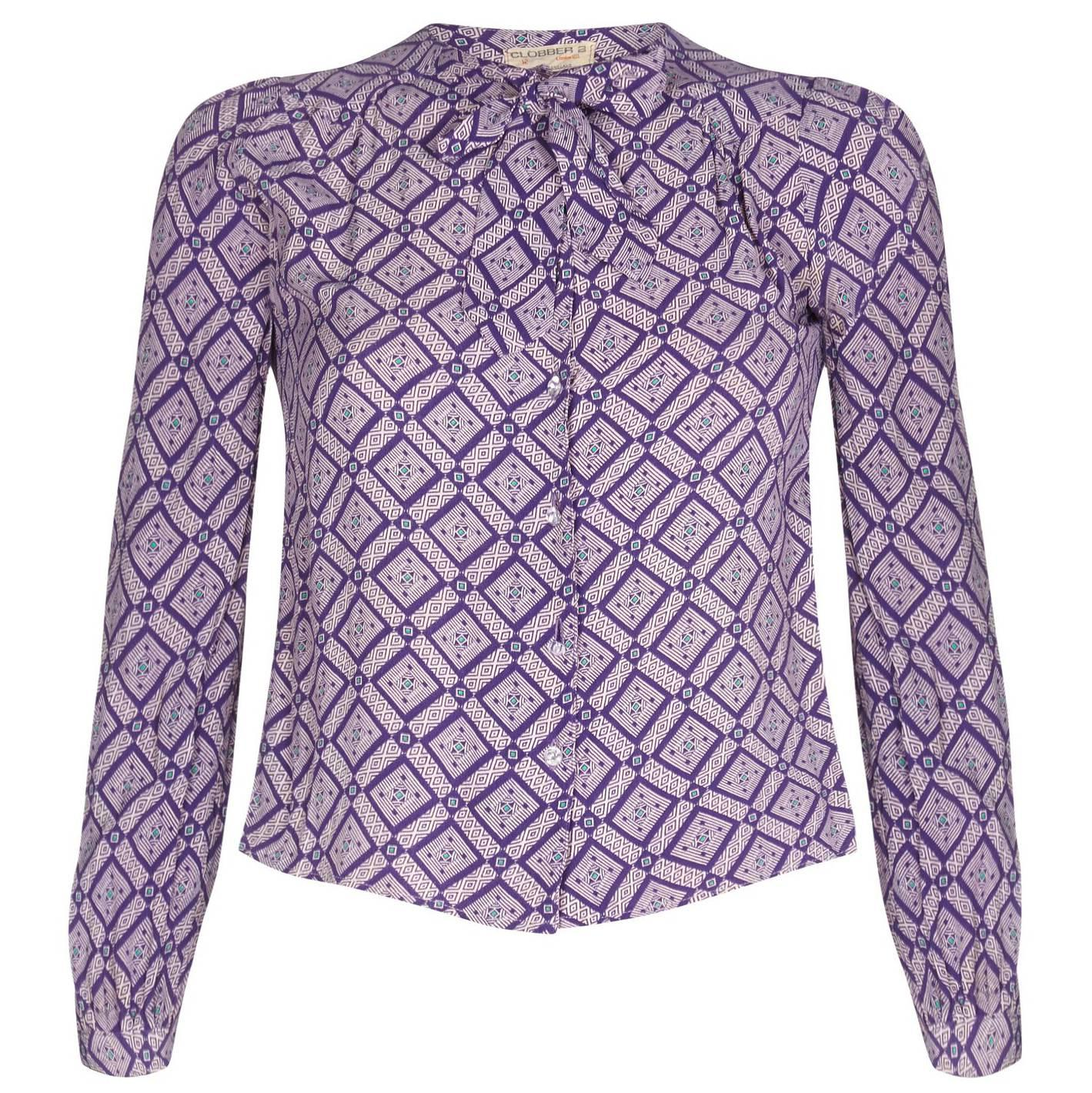 Jeff Banks 1970s Geometric Patterned Purple Blouse With Pussy Bow Collar