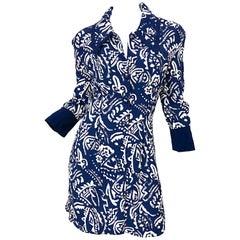 Jeff Banks London Size 16 / 48 Navy Blue + White 1990s Vintage 90s Shirt Dress