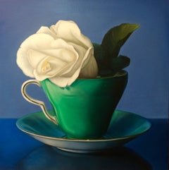 Eleanor, Oil painting with rose and teacup