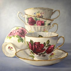 Rosemary, Oil painting with rose and teacup