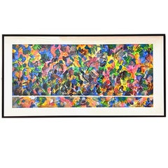 Large Scale Framed Jeff Christ Mixed Media 'Sleeves' Vibrant Hues