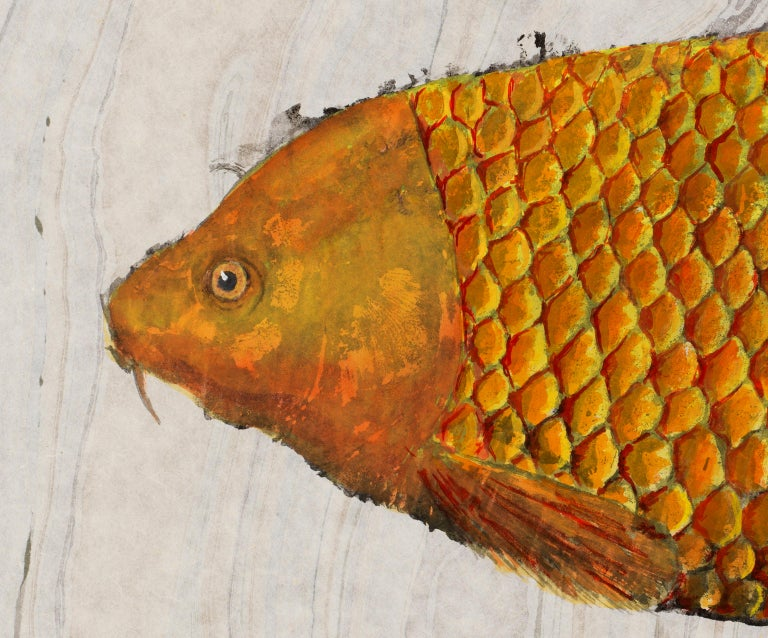 Big Ass Goldfish, Japanese Style Gyotaku Fish Painting in Blue on Mulberry Paper - Beige Animal Painting by Jeff Conroy