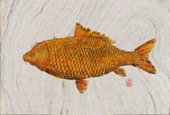 Big Ass Goldfish, Japanese Style Gyotaku Fish Painting in Blue on Mulberry Paper