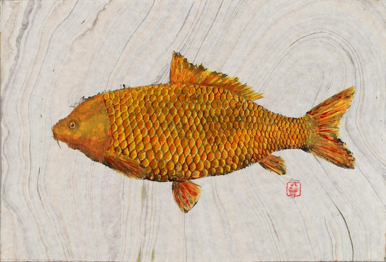 Jeff Conroy Animal Painting - Big Ass Goldfish, Japanese Style Gyotaku Fish Painting in Blue on Mulberry Paper