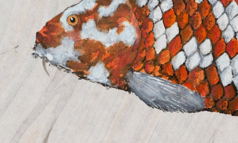 Big Boi Koi I, Japanese Style Gyotaku Fish Painting on Mulberry Paper, Framed - Art by Jeff Conroy