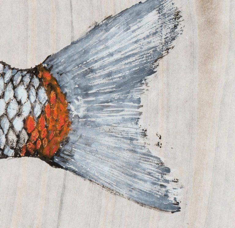 Big Boi Koi I, Japanese Style Gyotaku Fish Painting on Mulberry Paper, Framed - Gray Animal Art by Jeff Conroy