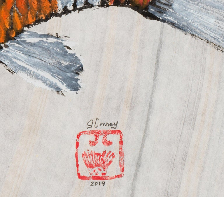 This is a Gyotaku method painting of a large carp on a pale grey mulberry paper background.  This fish impression using minimal color is akin to a fossil.  The fish is hand painted in deep orange and white.  The mulberry paper has a soft hue and