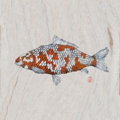 Big Boi Koi I, Japanese Style Gyotaku Fish Painting on Mulberry Paper, Framed