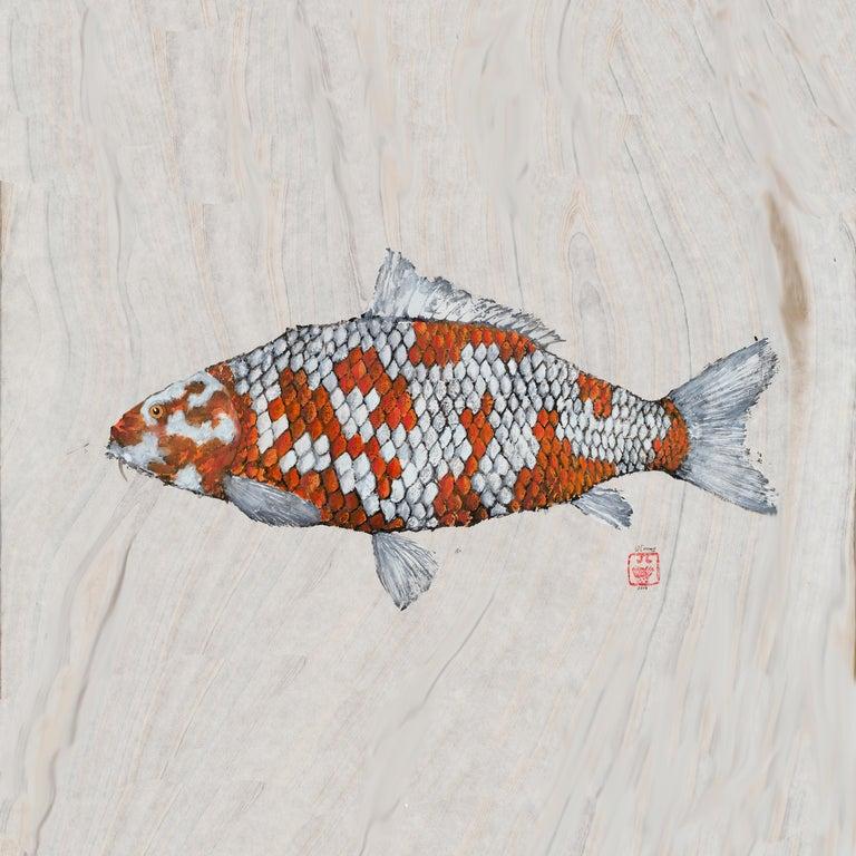Jeff Conroy Animal Art - Big Boi Koi I, Japanese Style Gyotaku Fish Painting on Mulberry Paper, Framed