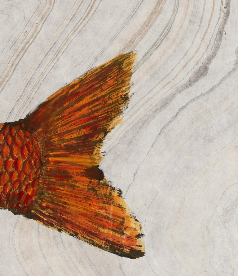 Big Red, Japanese Style Gyotaku Fish Painting on Mulberry Paper - Art by Jeff Conroy
