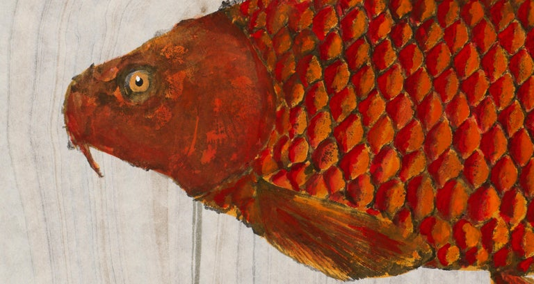 Big Red, Japanese Style Gyotaku Fish Painting on Mulberry Paper - Contemporary Art by Jeff Conroy
