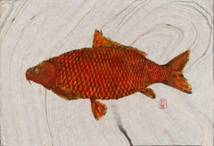 Big Red, Japanese Style Gyotaku Fish Painting on Mulberry Paper
