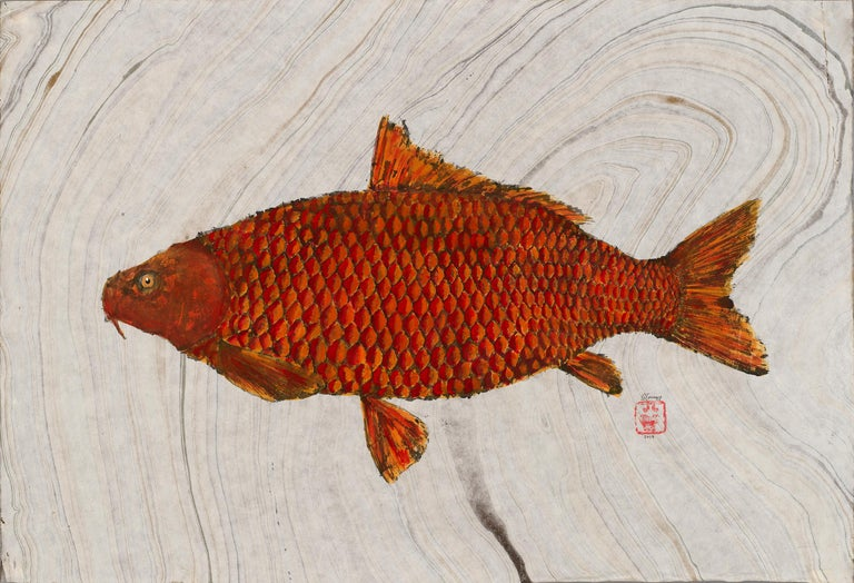 Jeff Conroy Animal Art - Big Red, Japanese Style Gyotaku Fish Painting on Mulberry Paper