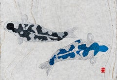 Black and Blue, Japanese Gyotaku Painting of Two Koi on Marbled Mulberry Paper