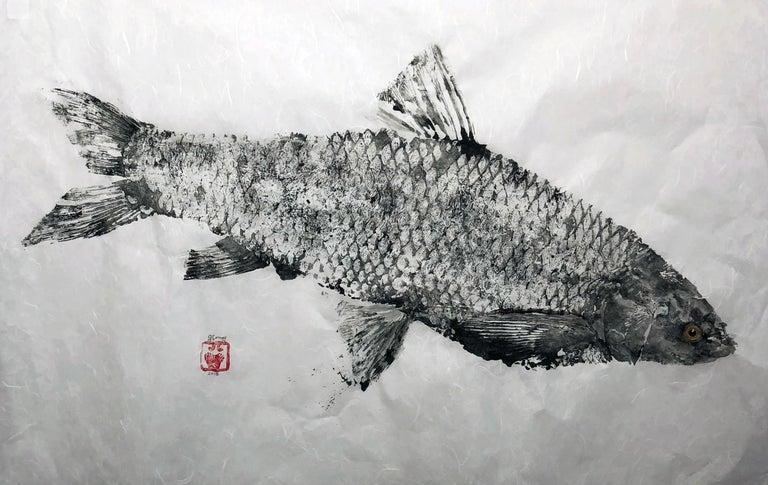 Black Grassie, Yellow Eye - Japanese Style Gyotaku Yellow Eyed Fish Painting  For Sale 1