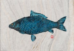 Blue Behemoth - Japanese Style Gyotaku Fish Painting in Blue on Mulberry Paper